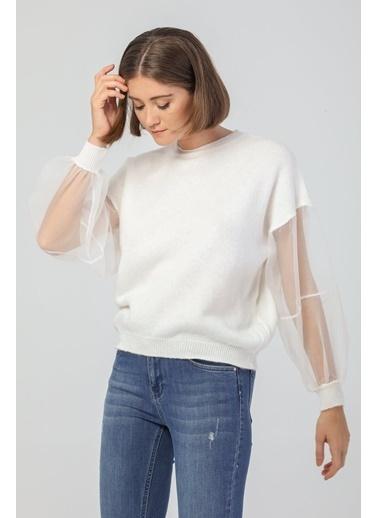 Modaset Modaset 20K5091K1023 Tül Ve Balon Kol Detaylı Triko Kazak Beyaz